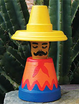 Make a sleepy mexican out of terracotta pots