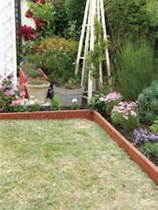 Wooden garden edging