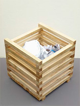 Make a wooden waste paper bin from pieces of pine