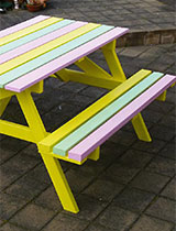 Repaint your picnic table in a three colour combination