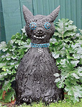 How to mould a concrete scary cat ornament