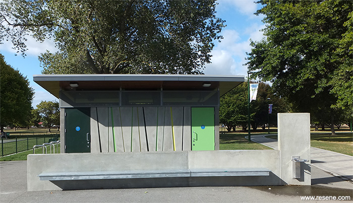 Resene products in action flaxmere park public toilet for Park restroom design