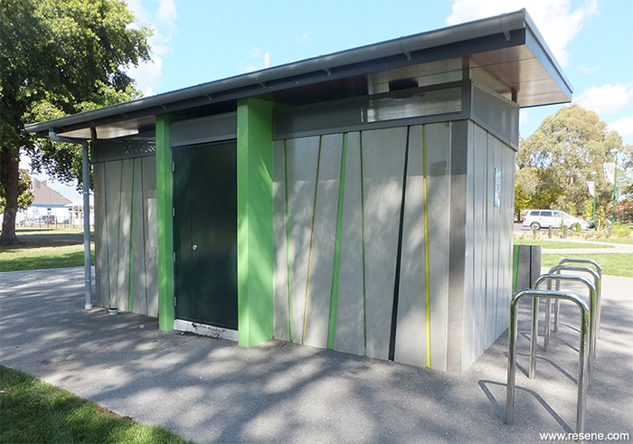 Flaxmere Park Public Toilet  Architectural Resene Products in Action