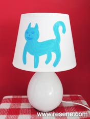 Paint a cute kitty lampshade