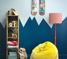 Blues and greens can create a soothing space for teenagers. ,Blue shades can create a soothing space for teenagers.