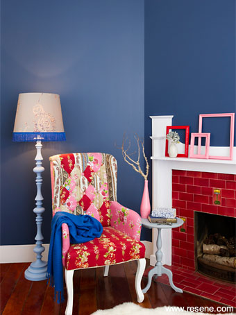 ... deep rich blues and poops of colour are an up to date colour trend