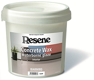 Resene concrete wax protects concrete floors and benches for Mop on concrete floor wax