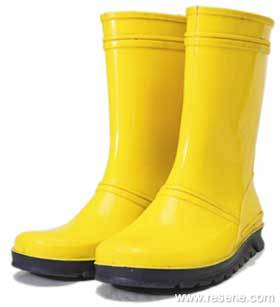 Yellow Gumboots In Resene Kowhai Have Been Painted Onto