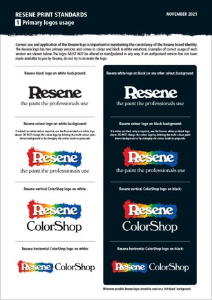 Download Resene Logos for Print and Print Promotion