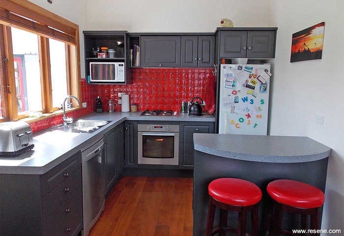 Art deco renovation - Red and grey kitchen designs ...