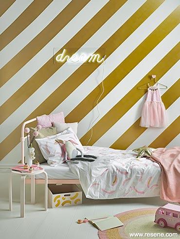 Girl S Room Softest Pink Metallic Gold Stripes Kids Corner Yhg