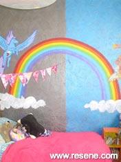 Colourful rainbow mural