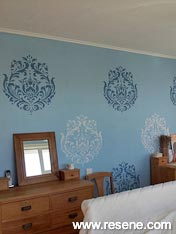 Resene Escape bedroom walls with stencil of Resene Wedgewood