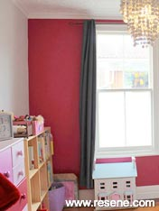 Child's room with Resene Tickled Pink feature wall