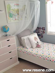 Resene Powder Blue and Resene Blanched Pink drawers
