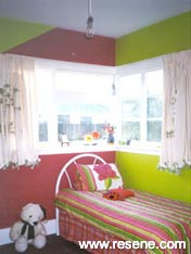 Bright pink and green girl's room