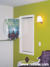 A bright feature wall of Resene Wasabi