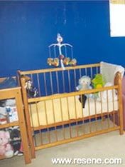 Pale yellow and blue in a child's room