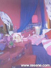 Pink and deep blue girl's room