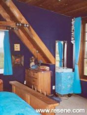 Bedroom painted in Resene Paua