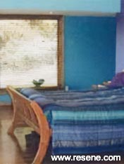 Bedroom painted in paua colours