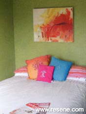 Bedroom finished in Resene Wasabi green