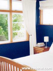 Bedroom of Resene Midnight Express dark blue