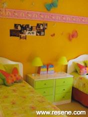 Child's bedroom Resene Fuel Yellow and Resene Dutch White
