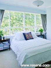 Bedroom painted in Resene Cut Glass