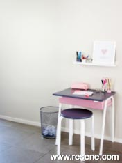 This desk and stool gives little ones their very own space to sit and create