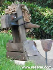 Old cable reel a new life as a charming rocking horse