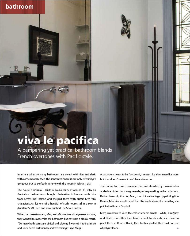 Pacifica Bathroom Habitat Magazine Published By Resene Paints