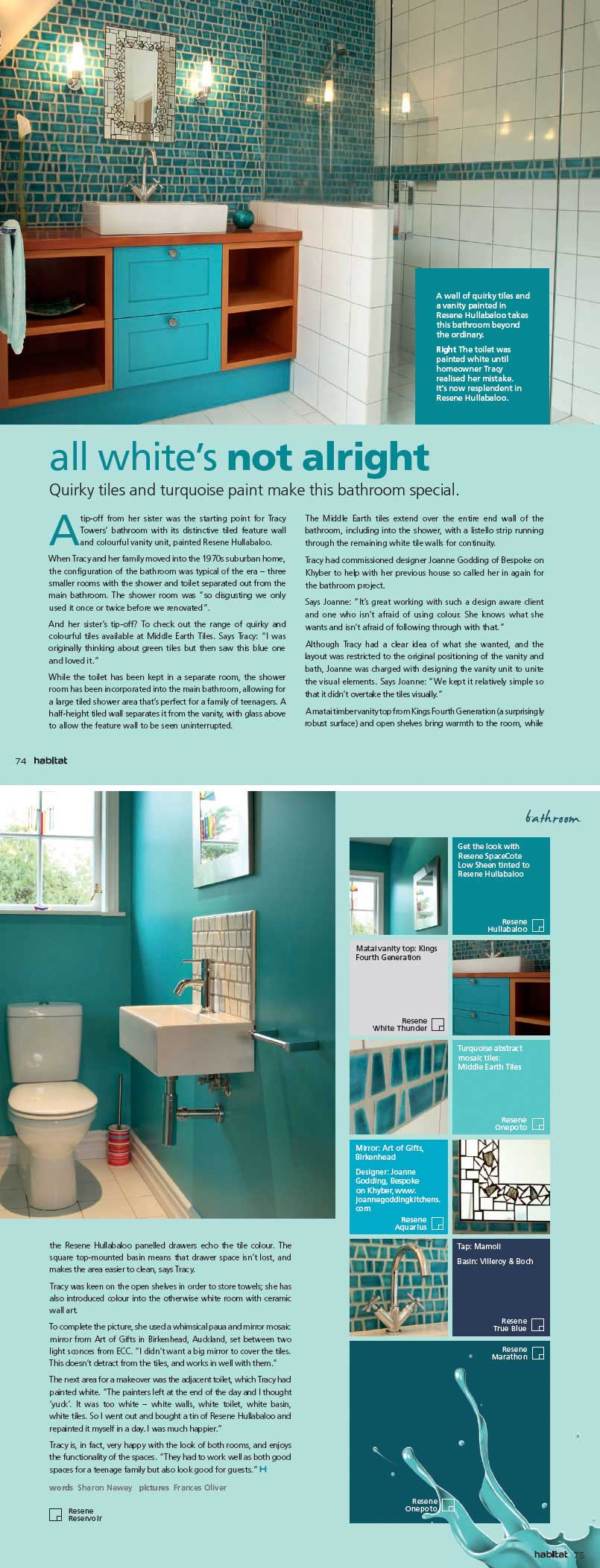 Quirky Tiles And Turquoise Paint Make This Bathroom Special - Special paint for bathroom