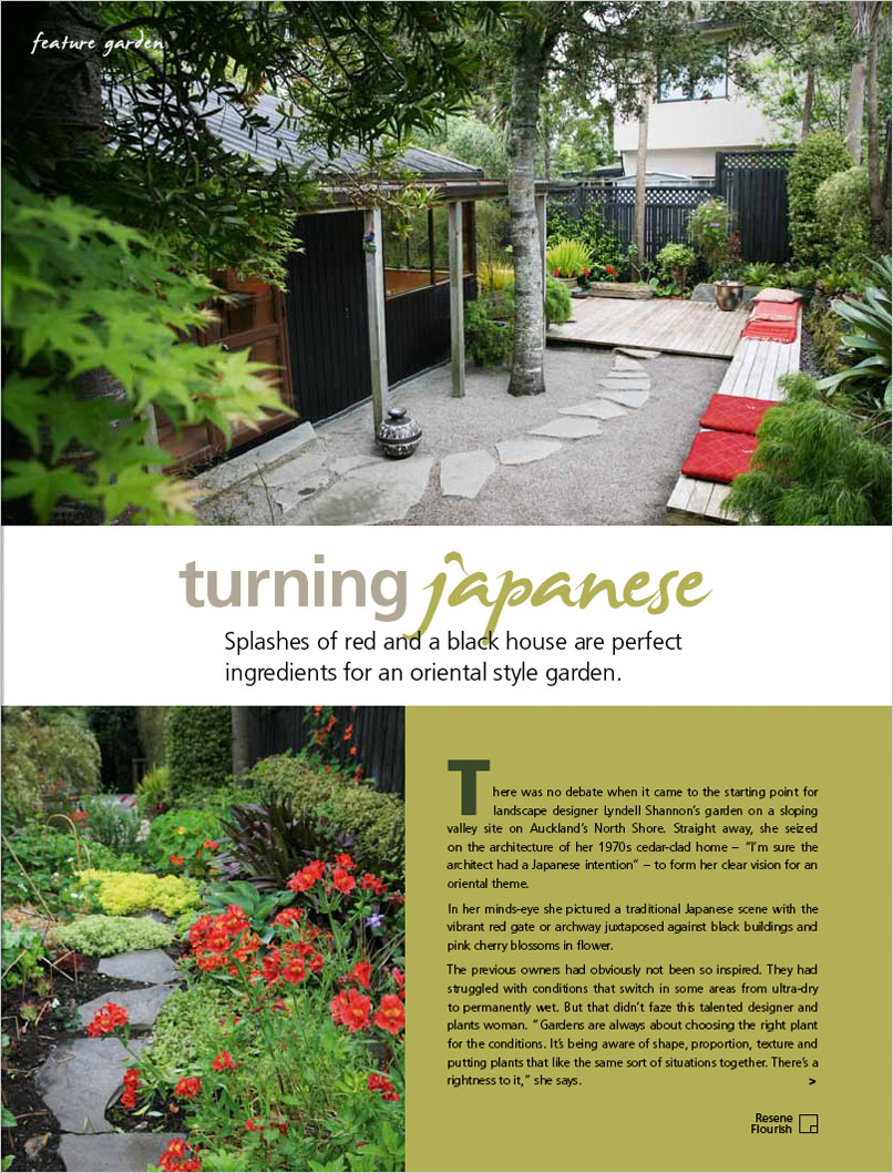 Splashes Of Red And A Black House Are Perfect Ingredients For An Oriental  Style Garden