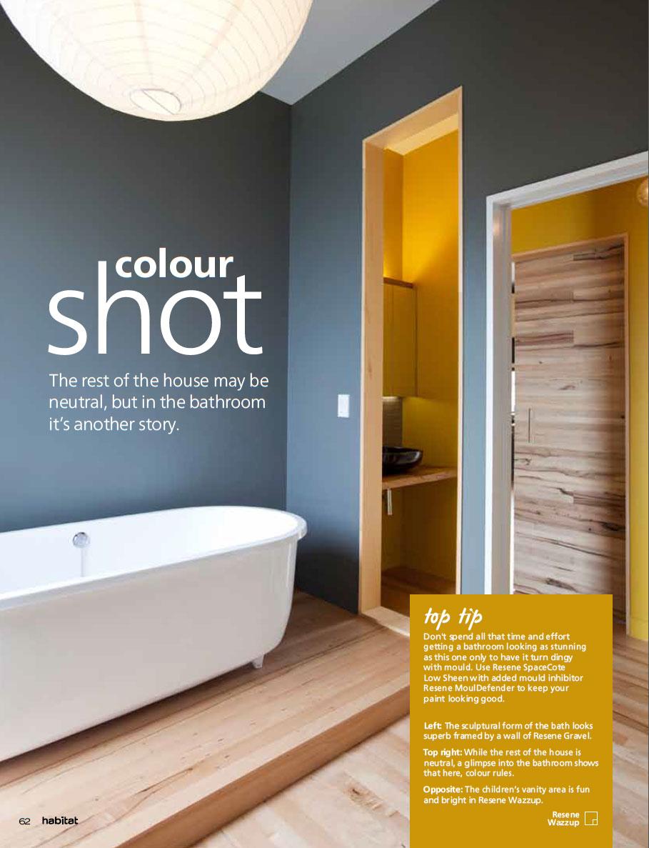 A neutral colour scheme but with a very colourful bathroom