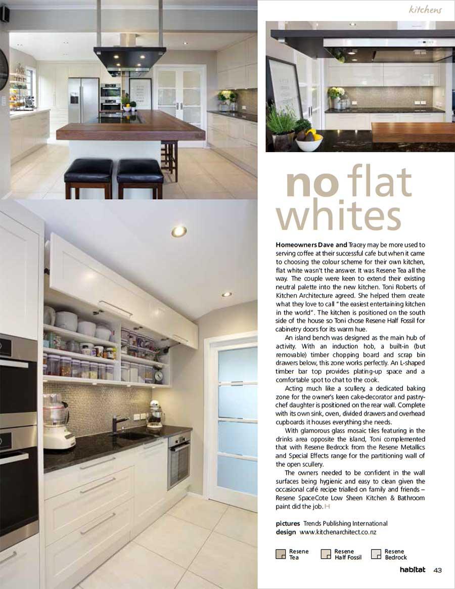 a neutral palette of resene tea in a new kitchen habitat magazine 25