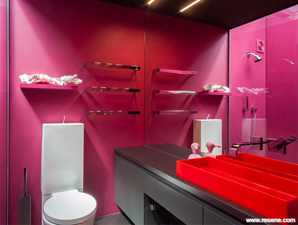 Bathroom with Resene Lipstick walls