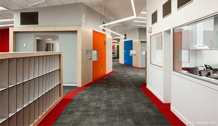 Red floor edging and bold wall colours help with navigation