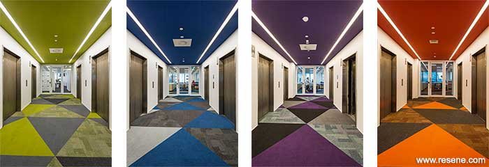 Each floor of the tower has its own colour scheme to assist with wayfinding