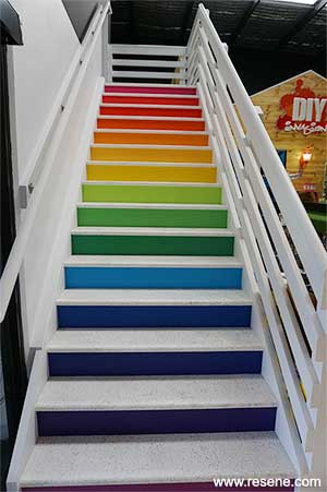 Coloured staircase risers lead the way up