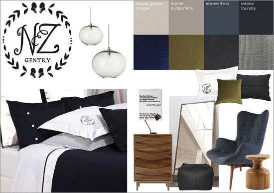 Gorgi bed linen and Resene paint colours inspired by the mans classic suit