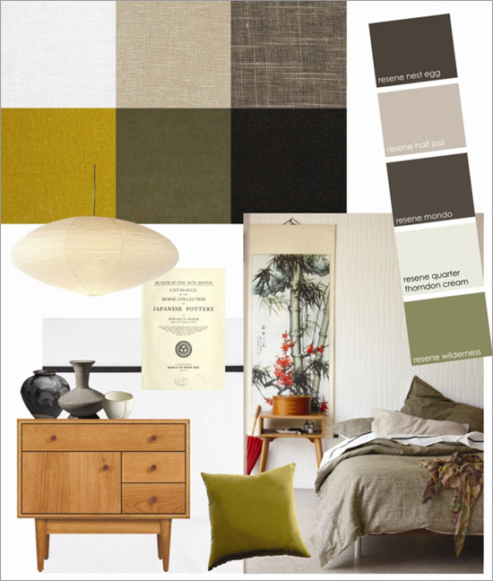 Ikebana inspired bed linen and Resene paint colours for a bedroom