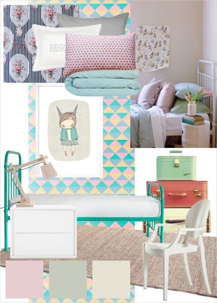 Sylvie - a selection of soft mint green colour and accent prints bed linen