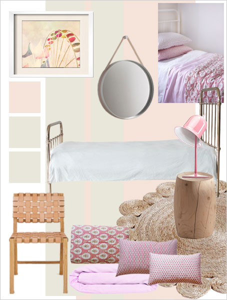The bedroom collection for girls characterized by the dominance of pink and its related hues.