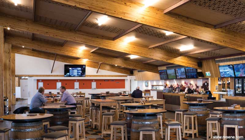 The Papanui Club building utilises Fireshield a timber intumescent coating