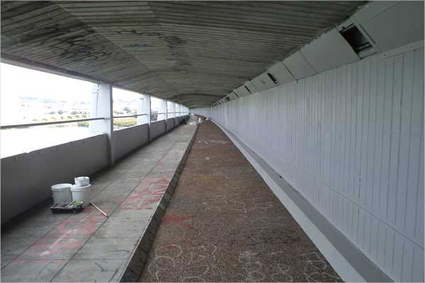 The entire walkway under Mangere Bridge has been painted with PaintWise EchoPaint