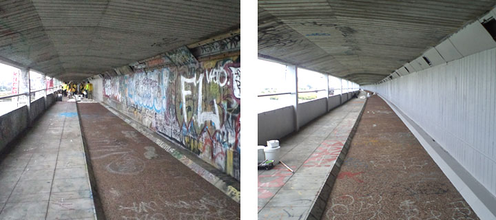 Grafitti on Mangere Bridge is painted out with Resene PaintWise EchoPaint donations