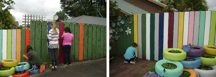 Use leftover paint to create a colourful fence or recycled tyres for a garden feature