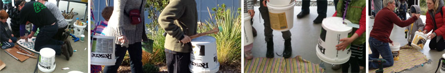 Resene paint buckets recycled as children's drums