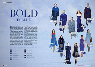 Blue isthe hue of choice for designer collections this fall.